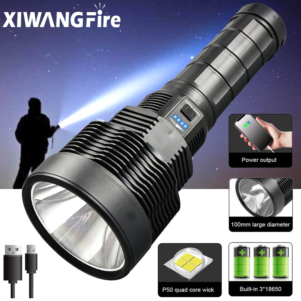 20000lm XHP50 LED Super Bright Flashlight USB Rechargeable 5 Modes Torch Lantern Outdoor Waterproof