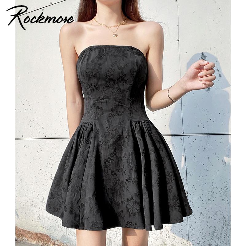 Rockmore Strapless Dress Evening Party Dresses Sexy Pleated Dress Korean Women Black Gothic Short Sundress Fashion Slim Female