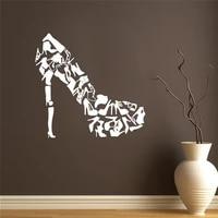Autocollant mural en vinyle pour fenetre de magasin de chaussures  Design creatif  mode  talons hauts  decor de maison  papier peint pour chambre de filles DW6479