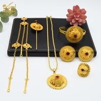 gold color ethiopian jewelry sets for women dubai habesha jewellery with hairpin head chain african bridal wedding luxury gift