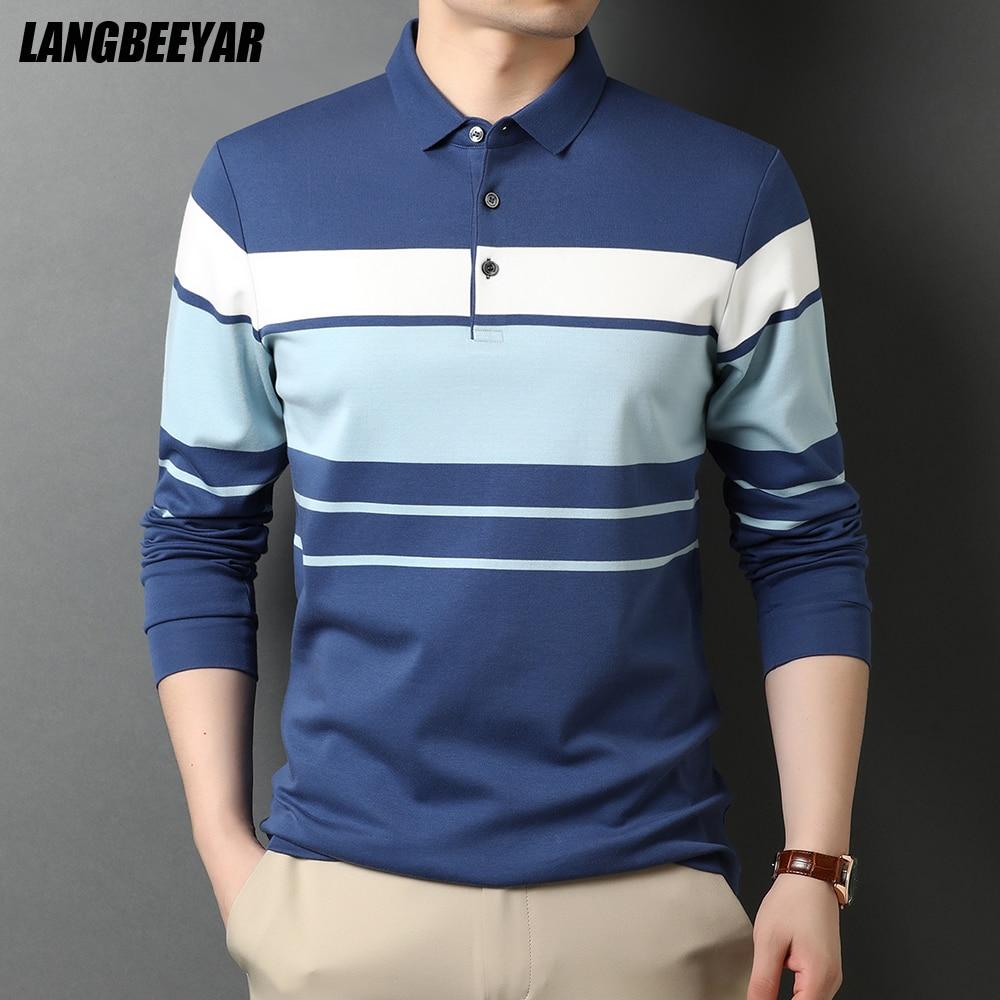 قميص بولو رجالي عالي الجودة مخطط بعلامة تجارية جديدة على الموضة قميص بولو بأكمام طويلة غير رسمي بياقة مقلوبة ملابس رجالي 2021