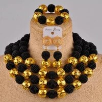 costume african jewelry set black simulated pearl nigerian beads for women fzz23