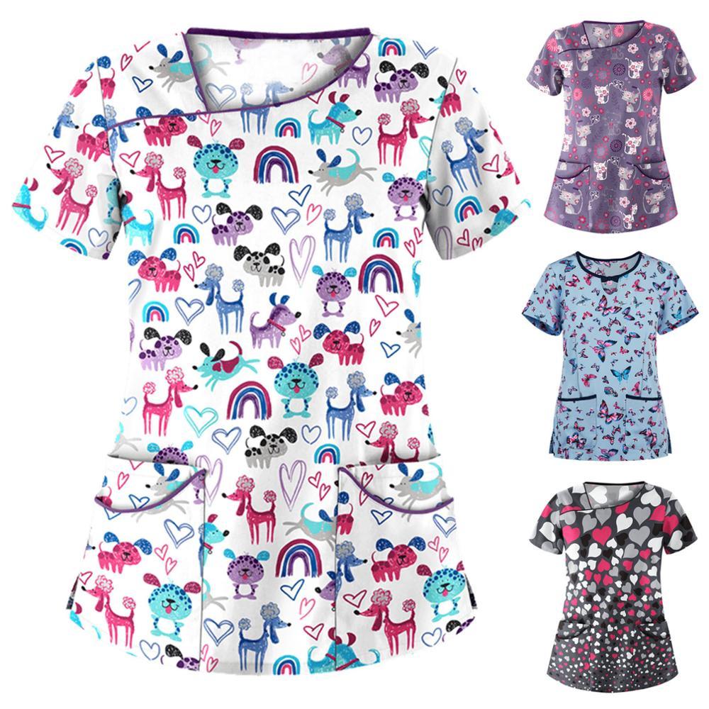 Women Cute Cartoon Print Nursing Scrubs Tops T Shirt Casual Short Sleeve Women Scrubs Uniforms Nurse V-neck Pocket Women Clothes
