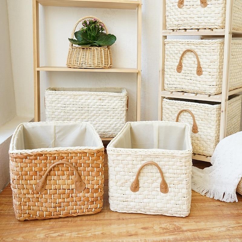 Manual Woven Storage Basket Handmade Laundry Wicker Baskets Sundries Organizer Clothes Toys Container Decor Panier Rangement