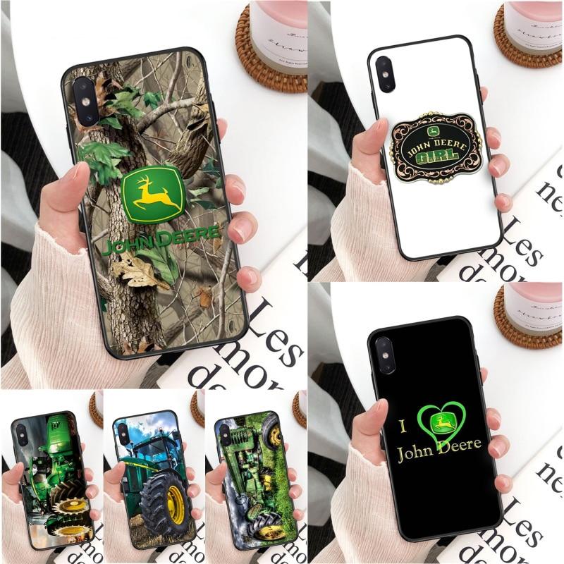 Para iPhone 11 pro XS MAX 8 7 6 6S Plus X 5 5S SE XR funda inteligente john deere carcasa negra suave para teléfono