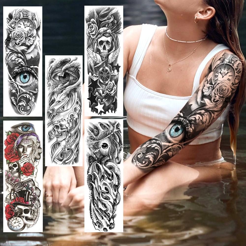 Tatuajes Temporales 3D de brazo de flores para hombre y mujer, tatuaje falso realista, tatuajes de transferencia al agua DIY