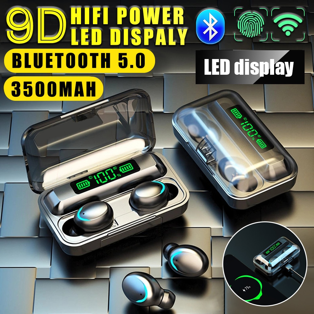 BCMaster Bluetooth 5,0 auriculares estéreo 9D auriculares inalámbricos deportivos a prueba de agua manos libres auriculares con 2000 mAh PowerBank