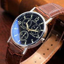 Six Pin Watches Quartz Men's Watch Blue Glass Belt Watch Men Date Alloy Case Synthetic Leather Analo