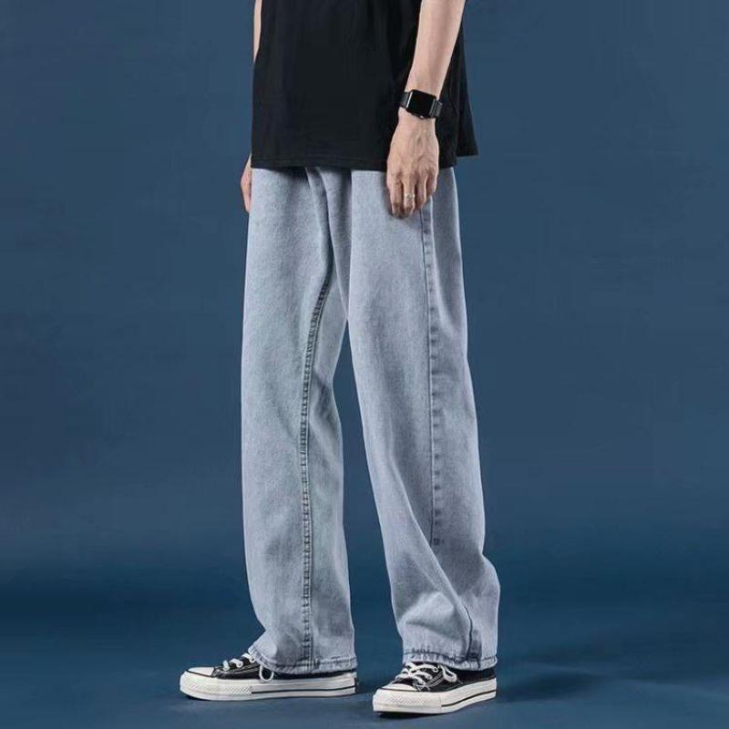 Джинсы мужские светлые, Брендовые прямые свободные брюки для мальчиков, укороченные штаны с широкими штанинами в Корейском стиле, большие р...