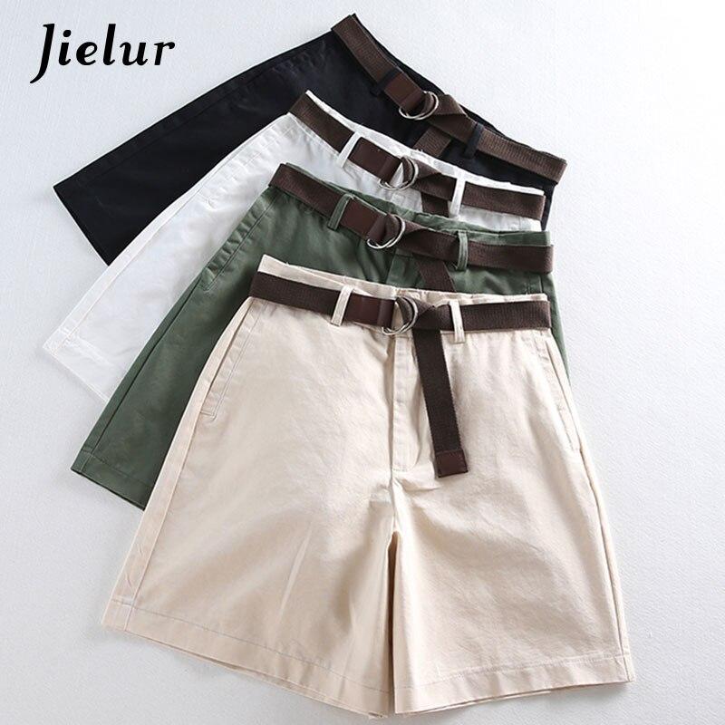 Jielur Shorts All-match 4 Solid Color Sashes Casual Shorts Women A-line High Waist Slim Short Femme Chic S-XXL Ladies Bottom