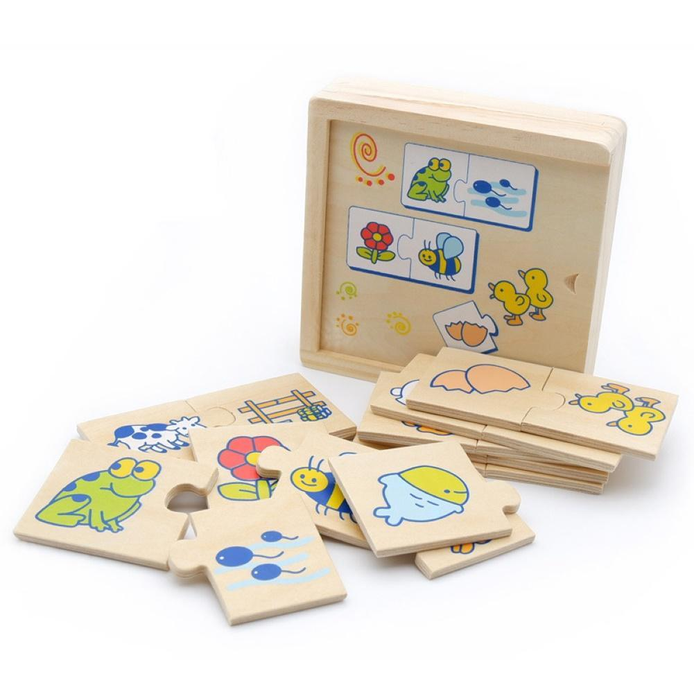 Kids Wooden Animal Food Blocks Jigsaw Puzzle Matching Game Early Educational Toy