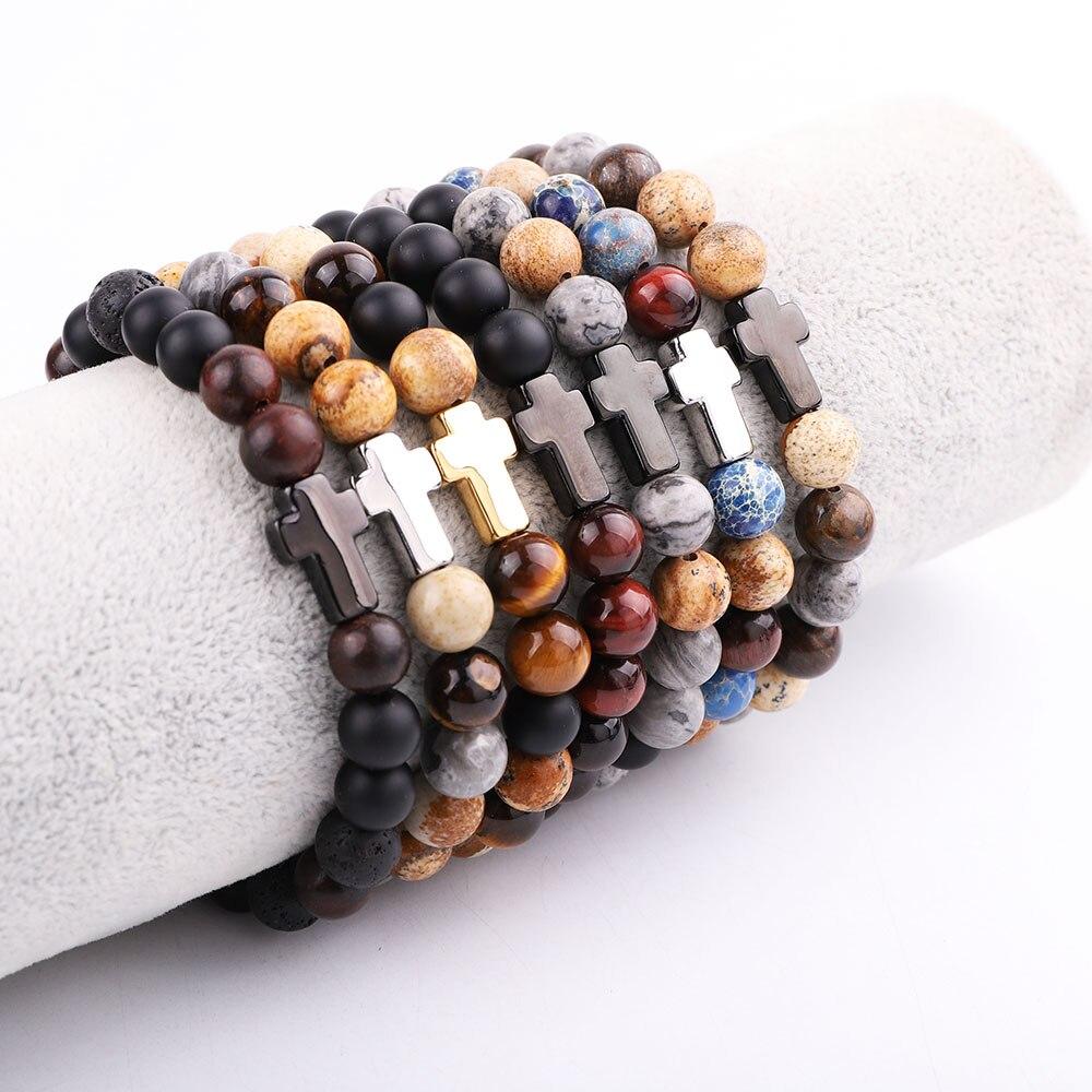JARAVVI Simple Design Stainless Steel Cross Vintage Natural Stone Elastic Bacelet Men Jewelry Gift