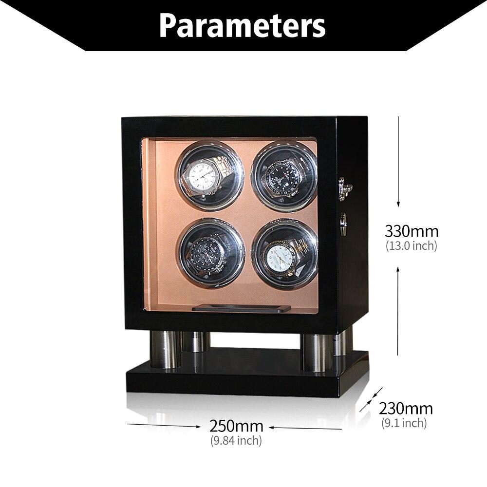 4 Watch Winders Wooden Black leather uhrenbeweg Silent Motor Rotator box Storage display Watches shaker case Luxury enlarge