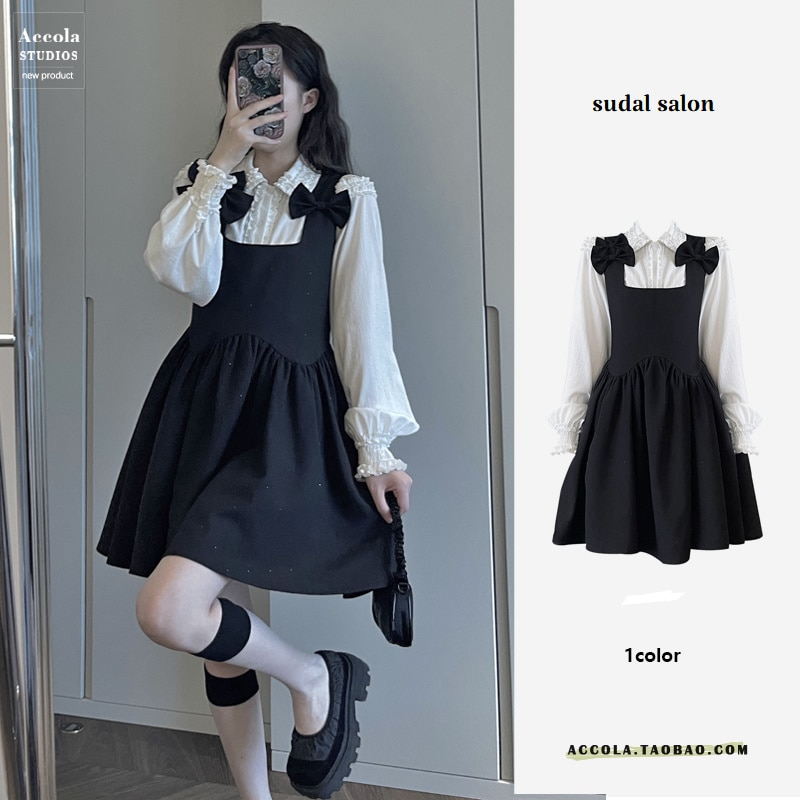Party Dress  Baby Collar Shirt Can Be Salt, Sweet Tie Dress Suit Two Sets Of Style.