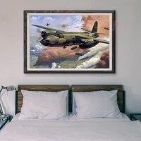 Peinture classique retro operations de vol davion de guerre T011  affiche en soie personnalisee 68  decoration murale  cadeau de noel