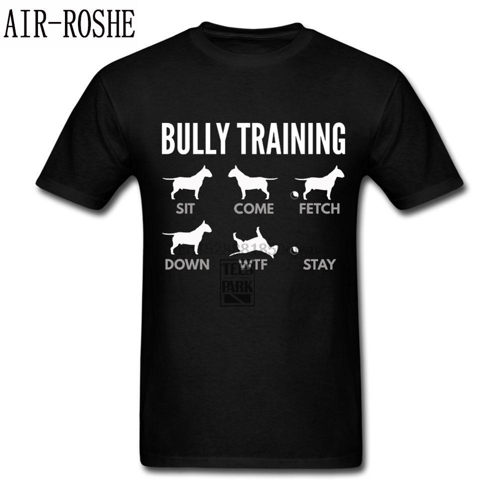 Hombres camisas bonitas inglés Bull Terrier matón entrenamiento, perro T camisa Harajuku camiseta loco Junior divertido T camisas Super héroe