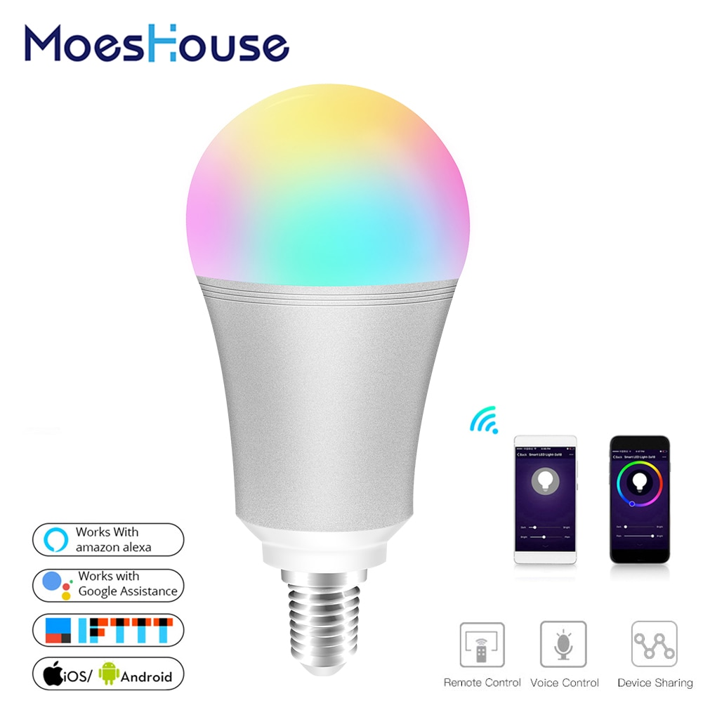 Wifi inteligente lâmpada led colorido inteligente 7w rgbw app controle remoto funciona com alexa google para casa inteligente e14