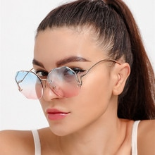 New Vintage Pink Tea Gradient Sunglasses Women Ocean Water Cut Trimmed Lens Metal Curved Temples Sun