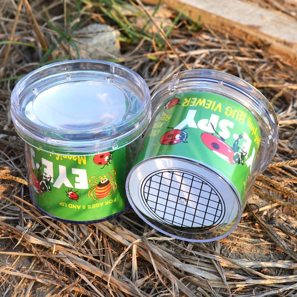 Animal PEQUEÑO de insectos, lupa de cristal, araña cilíndrica, juguete educativo, visera de plástico para botella, observación de insectos, novedades