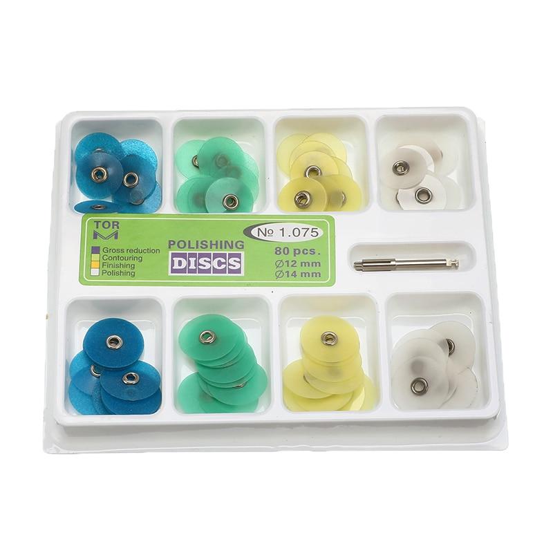 80pcs 12mm 14mm Acabamento e Polimento Dental Conjunto de Discos de Metal Mato Composto Acabamento Contorno Conjunto Kit Dental ferramenta
