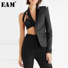 [EAM] coupe ample noir pansement évider un côté veste nouveau revers à manches longues femmes manteau mode marée printemps automne 2020 1A4470