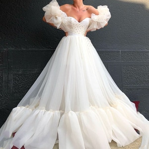 White Sweetheart Evening Dresses 2021 Elegant Beading A-Line Organza Prom Gown Sexy Off-The-Shoulder Party Dress robes de soirée