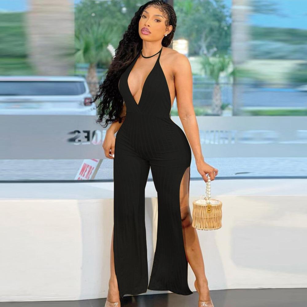 Wholesale Bulk Items Lots Womens Romper Halter Neck Off Shoulder Flare Jumpsuit Elgance Classy Backless Side High Split Outfit enlarge