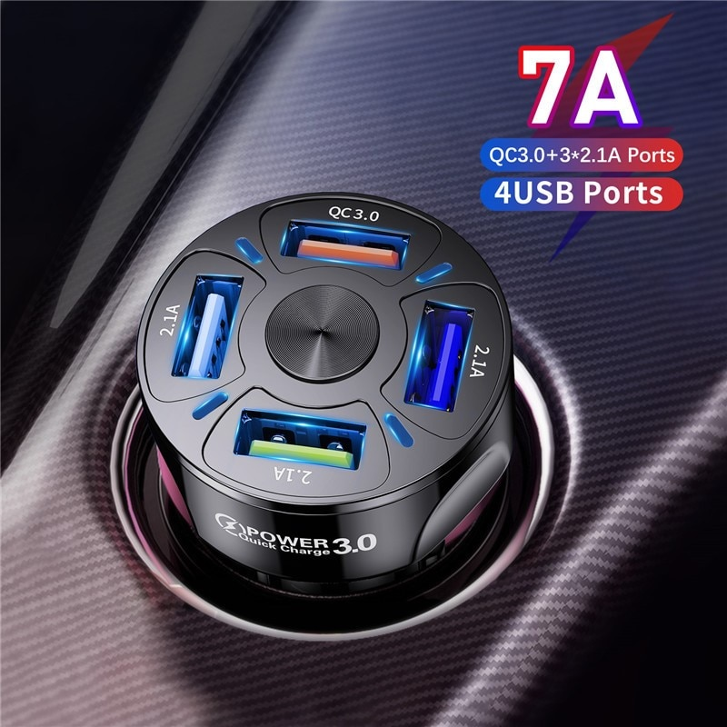 4 Ports USB Car Charge 48W Quick 7A Mini Fast Charging For iPhone 11 Xiaomi Huawei Mobile Phone Char