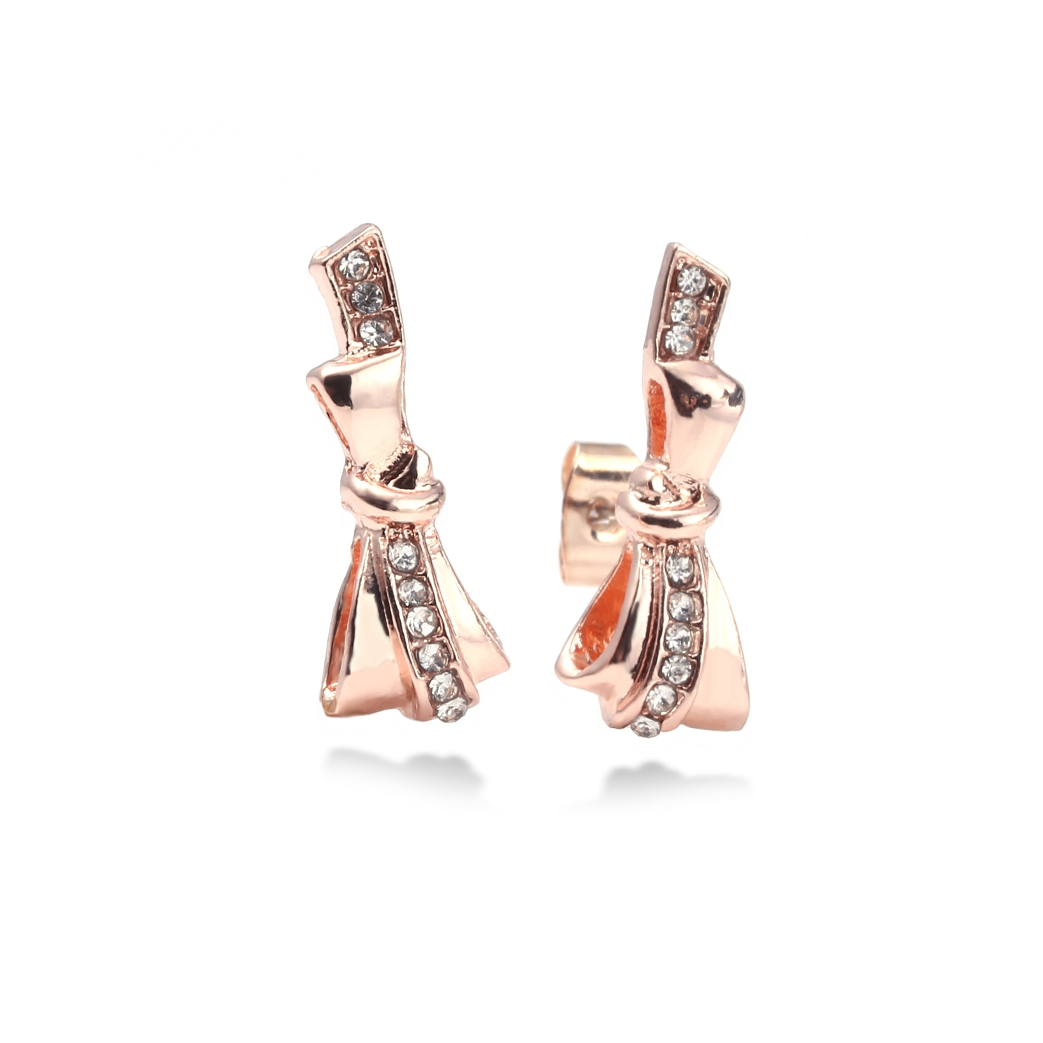 Rose Gold Fine Stud Earrings For Ladies Women Crown Love Round Earrings Jewellery Birthday Gift Anti Allergy  - buy with discount