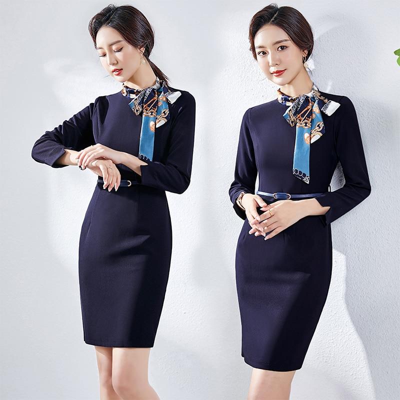 High-End Business Dress Women's Spring and Autumn Formal Dress Stewardess Uniform Jewelry Store Beau
