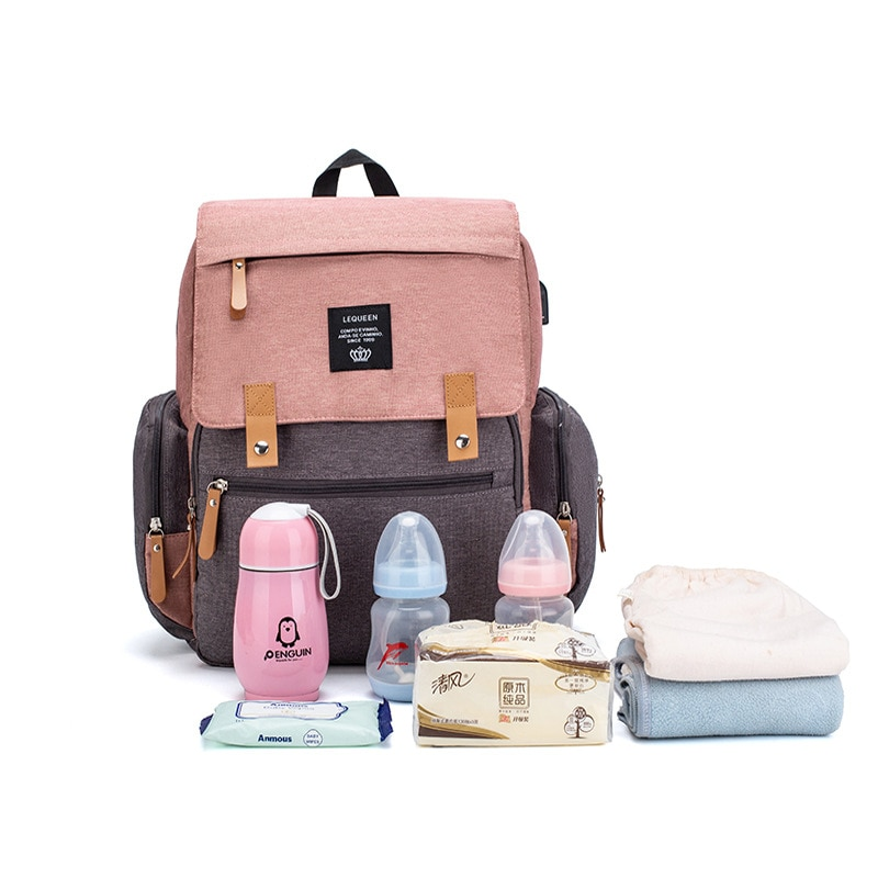 Pink Stitching Color Mommy Diaper Bags Mother Large Capacity Travel Nappy Backpacks Convenient Baby Nursing Bags