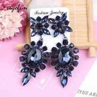 veyofun dark blue round crystal drop earrings for women vintage earrings fashion jewelry brinco wholesale