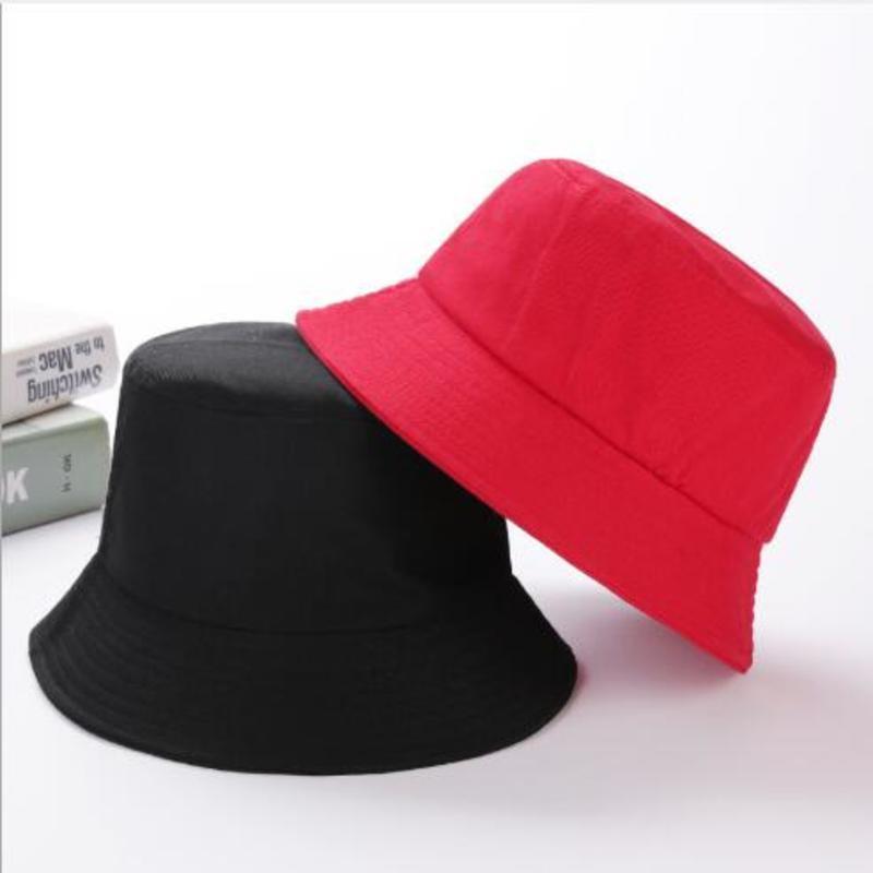 Unisex Cotton Bucket Hats Women Summer Sunscreen Panama Hat Men Pure Color Fedoras Sunbonnet Outdoor