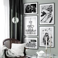 modern fashion poster black and white sexy woman canvas prints on wall loft frameless home decoration wallpaper
