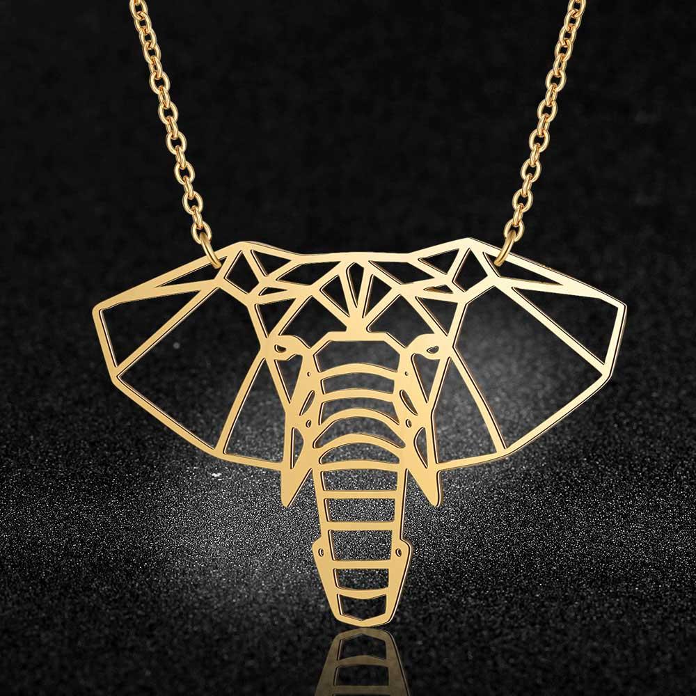 Colar de elefante de aço inoxidável feminino, colar para mulheres, pingente de design exclusivo, joias da moda, 100%
