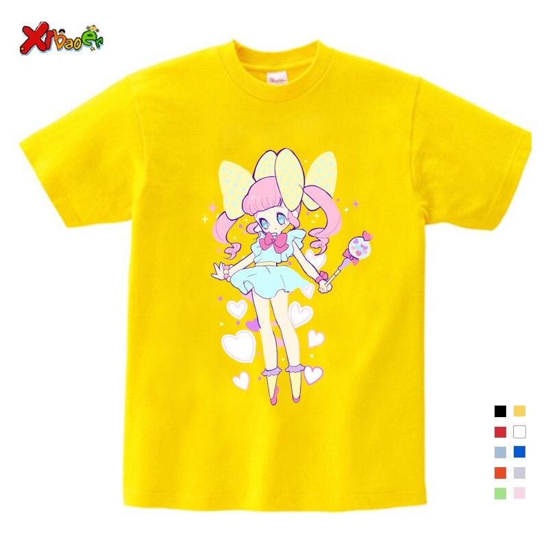 Футболка для девочек и мальчиков, летние детские футболки с коротким рукавом, футболка для девочек и мальчиков, детская Милая футболка с при...