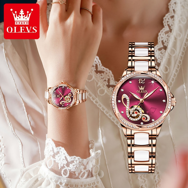 OLEVS New Wine Red Musical Note Dial Automatic Mechanical Watch Stainless Steel Ceramic Strap Luminous Waterproof Watches Women enlarge