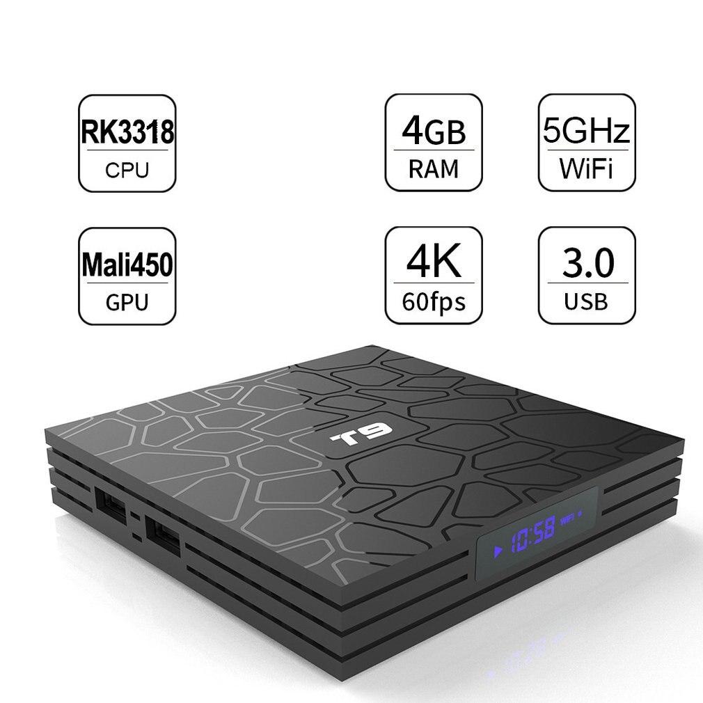 Caja de TV Android T9 Android 9,0 TV Box 4GB DDR3 RAM 64GB ROM RK3318 soporte Bluetooth 4,2 de 2,4G WiFi 4K Set Top caja de TV inteligente
