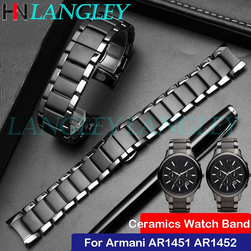 Correa de reloj de cerámica negra 22mm 24mm para reloj Armani AR1451 AR1452, correa de reloj de repuesto con hebilla