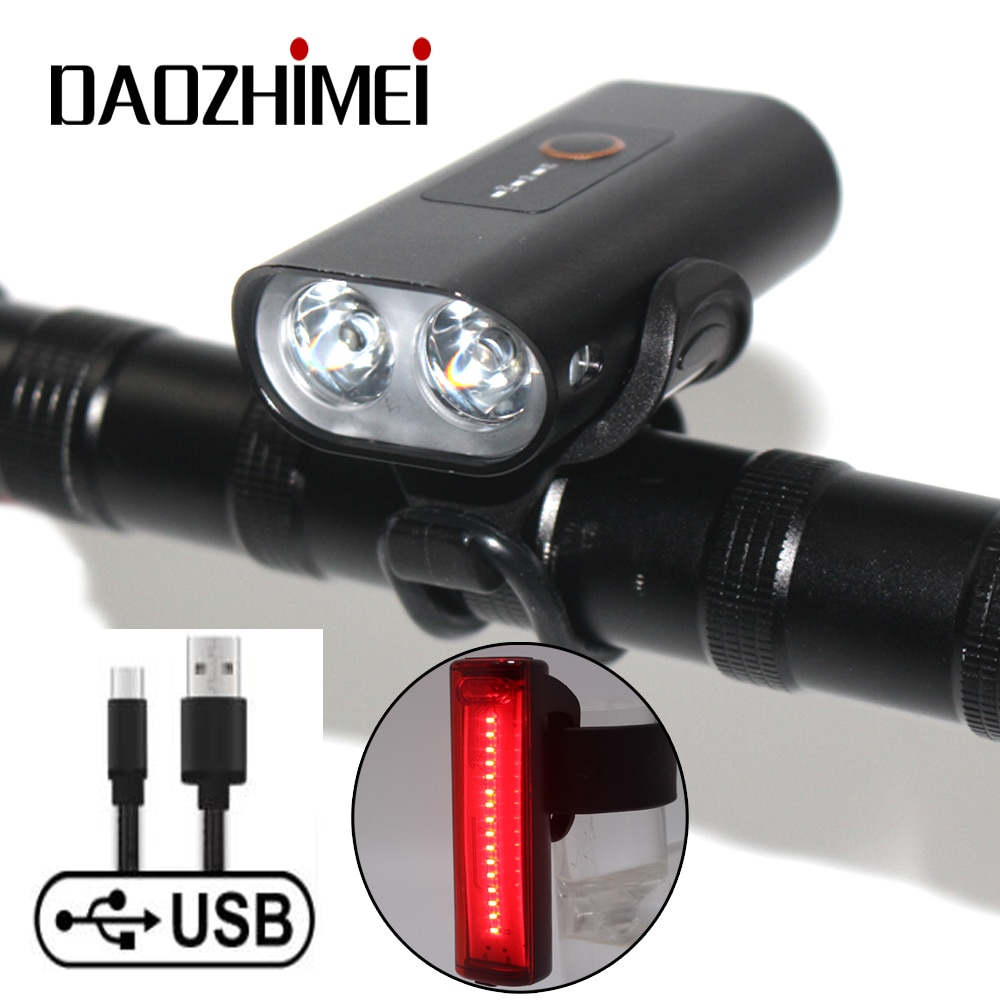 2400mAh Built-in battery Bike Light USB Rechargeable 2000 Lumens Bike Headlight 2*T6 LED Super Bright Flashlight Front Lights