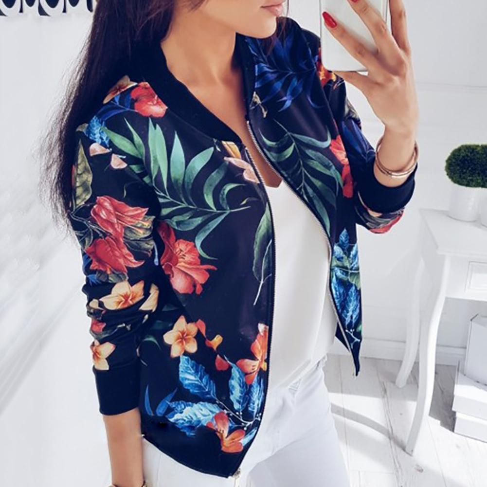 Fashion Flower Leaves Printing Women Jacket Long Sleeve Lady Baseball Sports Outwear Overcoat Jacket Zipper Coat chaqueta mujer