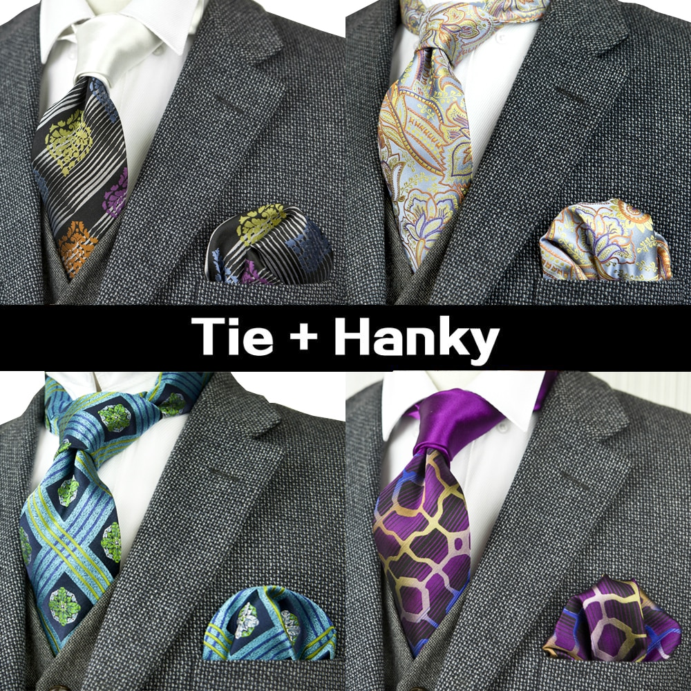 Stripes Checked Dots Paisley Floral Mens Ties Neckties Tie Sets Pocket Square Hanky 100% Silk Jacquard Woven