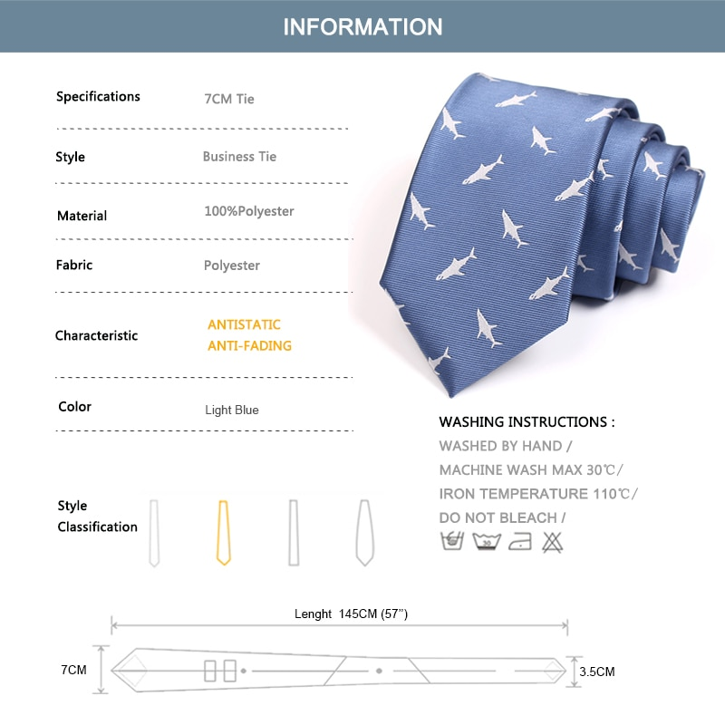 2020 New Fashion Ties For Men Business Suit Party Wedding Work Neck Tie High Quality Male Sky Blue Necktie Shark Print 7CM Tie