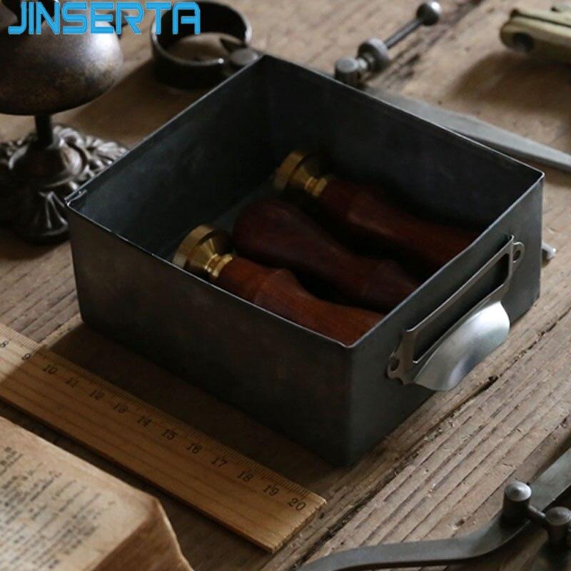 JINSERTA bandeja de almacenamiento de Metal caja de almacenamiento de hierro antiguo Retro escritorio cosmético organizador de ropa interior cajón bandeja decorativa