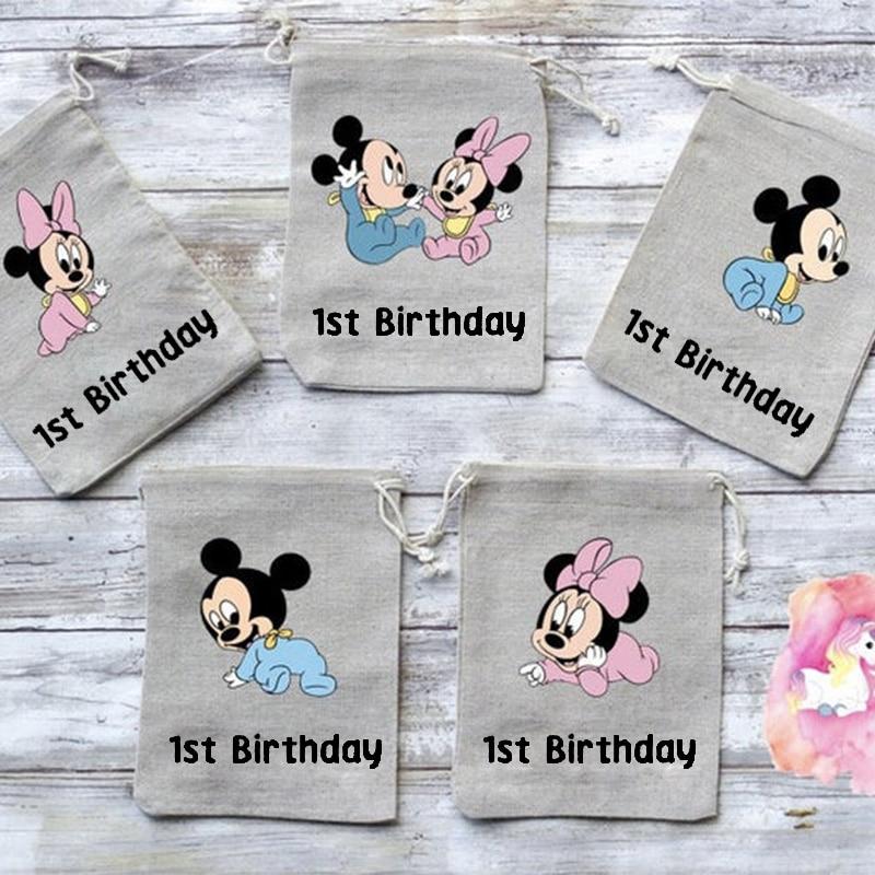 Bonito tema de bebé, decoración para fiesta de primer año de edad para fiesta de feliz cumpleaños, bolsa de dulces de arpillera Goodie