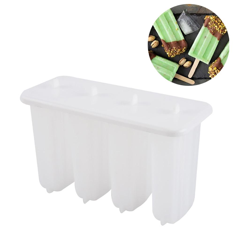 1 Juego de 4 moldes de plástico para polos, molde para helados congelados, molde para polos, bandeja para hacer Pan, herramienta para verano, suministros para DYI