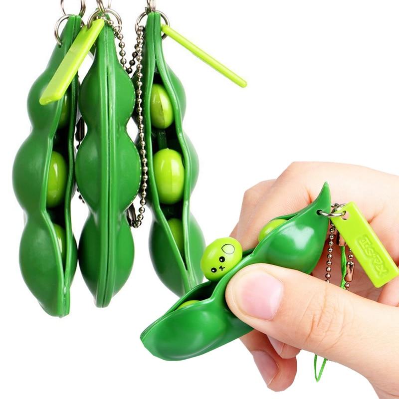 Infinite Squeeze Edamame Toys Peas Beans Keychain Pop It Fidget Squishy Decompression Squeeze Anti Stress  Figet Stress Toy
