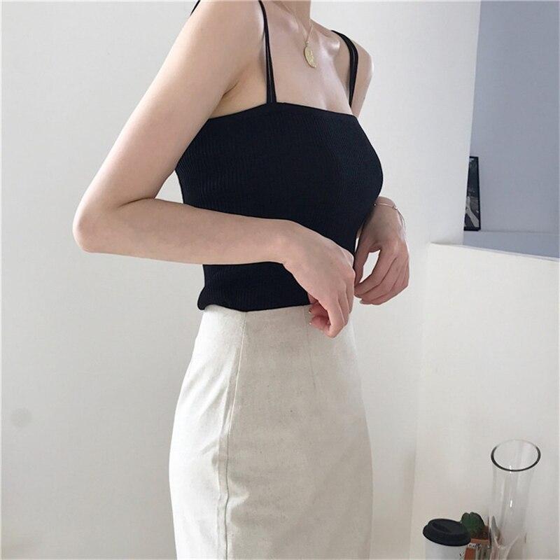 H46cd7b2c15d24912b5c4fe504204918cy - Summer Korean Sleeveless Basic Solid Camisole