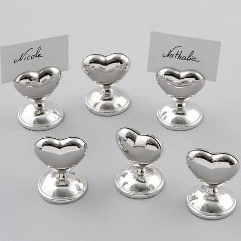 100 unids/lote favores de la boda corazón de plata lugar titular de la tarjeta foto Stand despedida de soltera favores del envío gratis