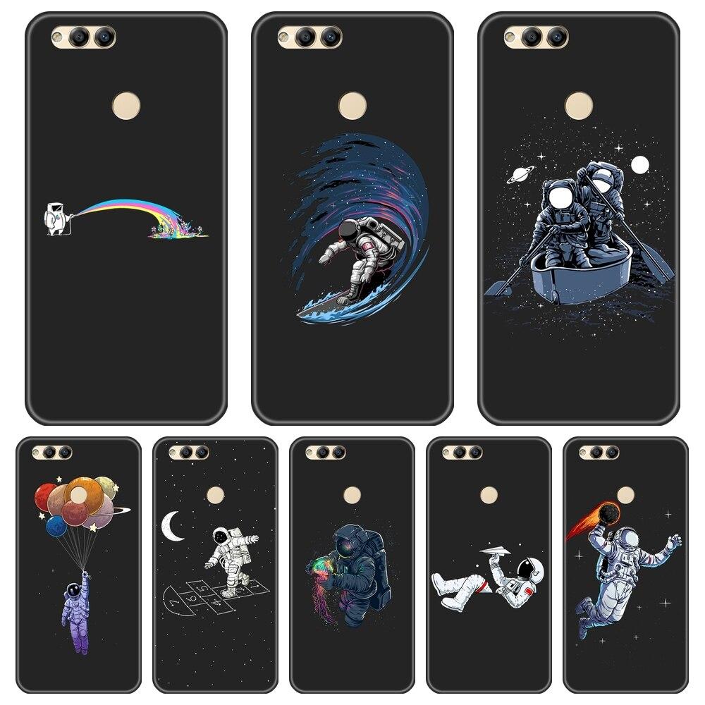 Astronauta espacio teléfono funda para Huawei Honor 7 8 9 10 Lite 7S 7X 7A 7C Pro funda trasera de silicona para Huawei Honor 8X MAX 10 9 8 7